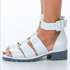 Miista Penny white ankle strap jelly sandals